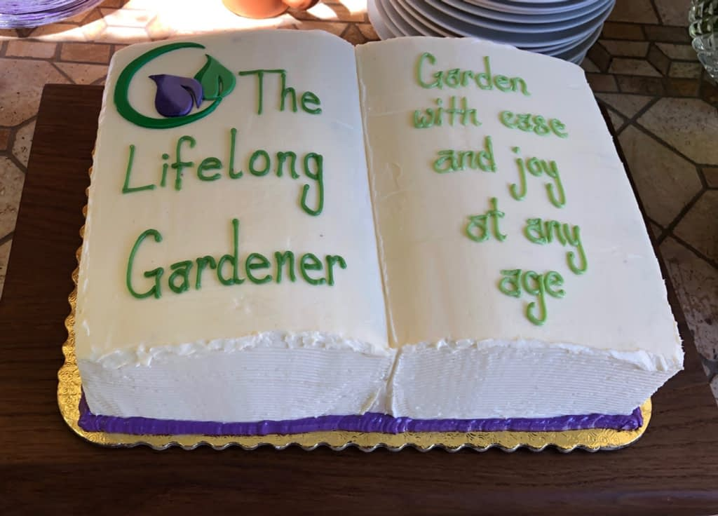 Custom cake created by Creekside Bakery in Novato  for The Lifelong Gardener Book Launch Party.